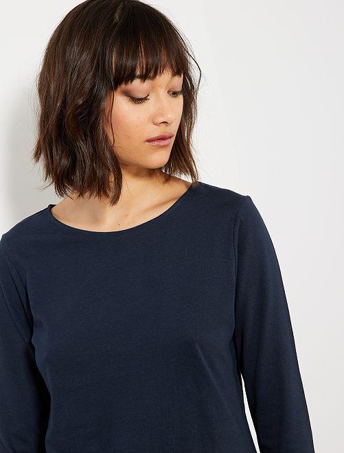 T-shirt basica con collo a barchetta                                                                                                                     blu