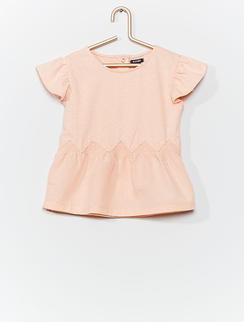 T-shirt bimateriale                             ROSA