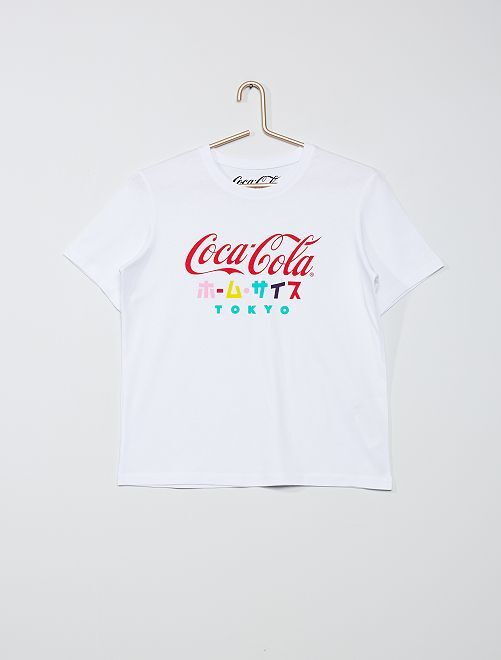 T-shirt 'Coca Cola'                             bianco