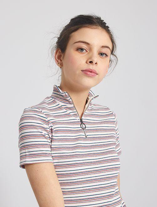 T-shirt colletto trucker                             a righe