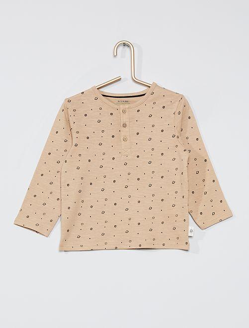 T-shirt collo serafino eco-sostenibile                                                                             BEIGE