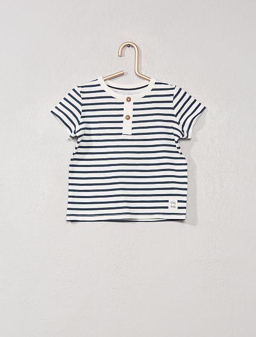 T-shirt collo serafino 'eco-sostenibile'                                                                 BIANCO