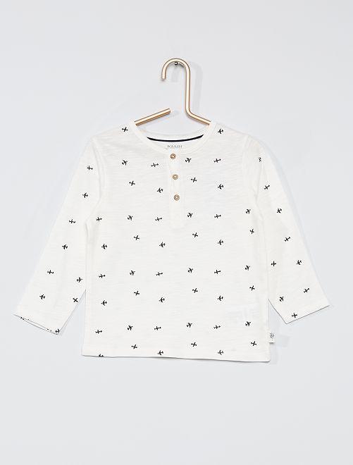 T-shirt collo serafino eco-sostenibile                                                                                                                 BIANCO