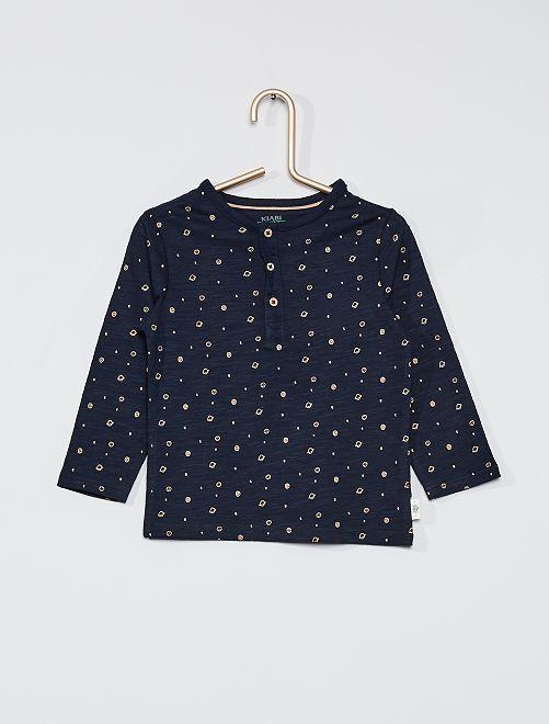 T-shirt collo serafino eco-sostenibile                                                                             BLU