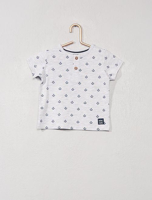 T-shirt collo serafino 'eco-sostenibile'                                                                 GRIGIO