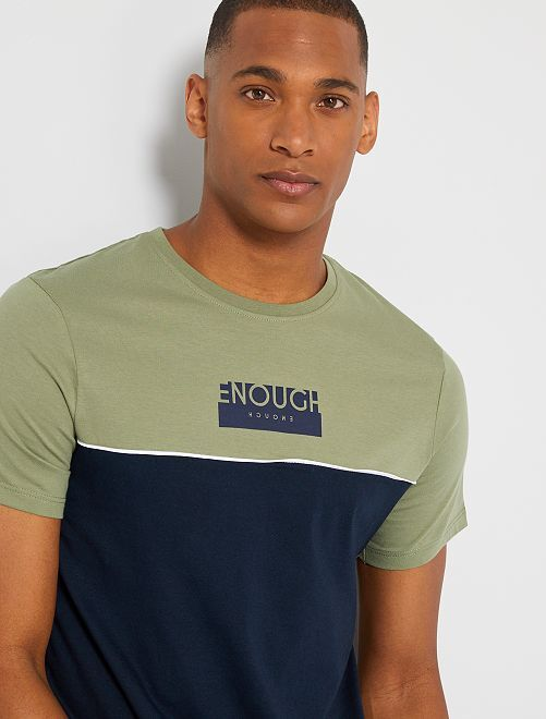 T-shirt color block con scritta                                                                 VERDE