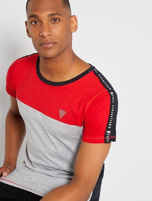 T-shirt color block                                         grigio rosso