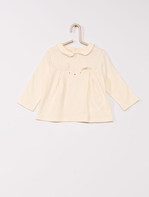 T-shirt con colletto claudine eco-sostenibile                                                     BIANCO