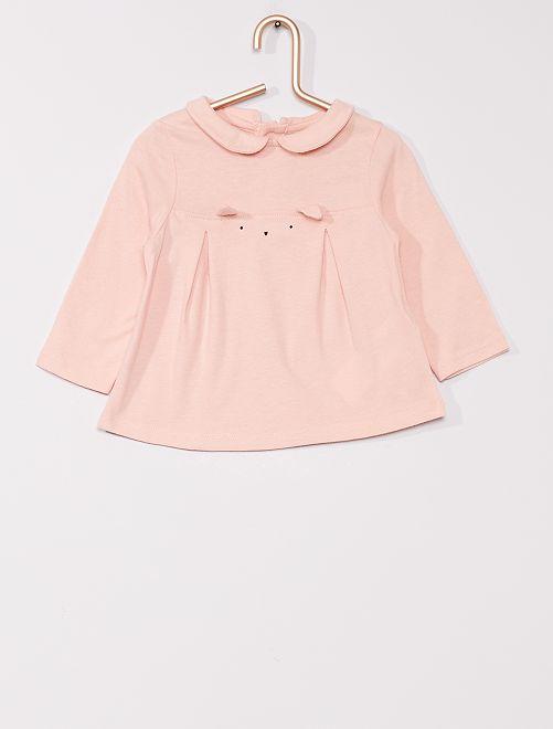 T-shirt con colletto claudine eco-sostenibile                                                     ROSA