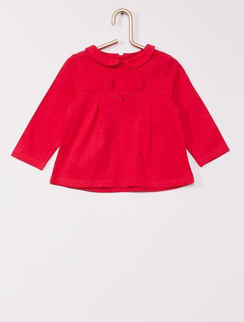 T-shirt con colletto claudine eco-sostenibile                                                     ROSSO