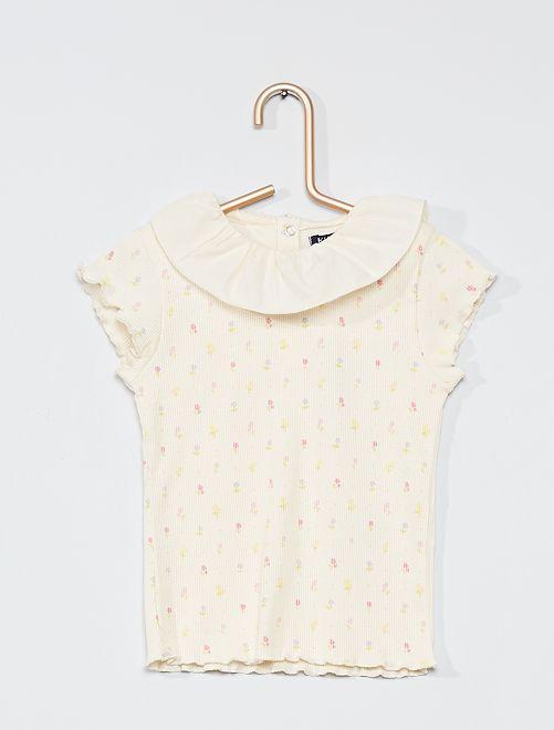T-shirt con colletto in voile di cotone                                 BIANCO