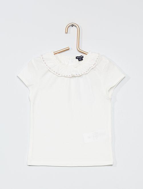 T-shirt con colletto rotondo arricciato                             BIANCO