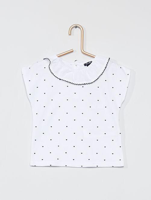 T-shirt con colletto rotondo arricciato                             stampato blu