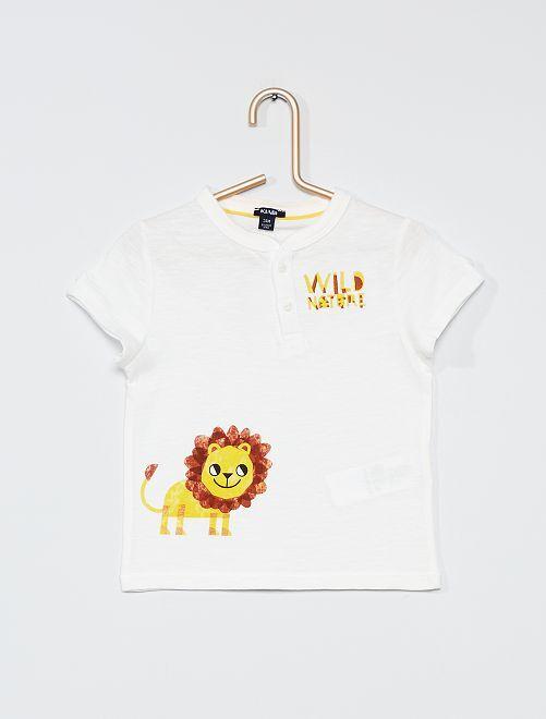 T-shirt con collo alla coreana                                         BIANCO
