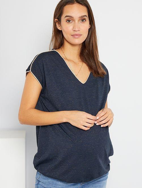 T-shirt con collo serafino                                                     blu