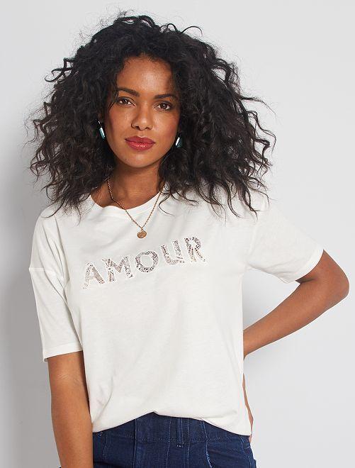 T-shirt con dettaglio in pizzo                                         bianco neve