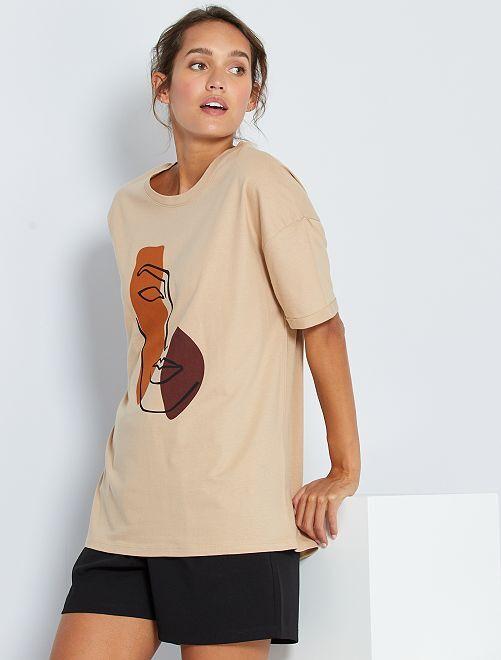 T-shirt con disegno                                 BIANCO