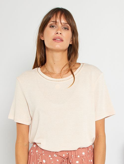 T-shirt con lino                                                                             BEIGE