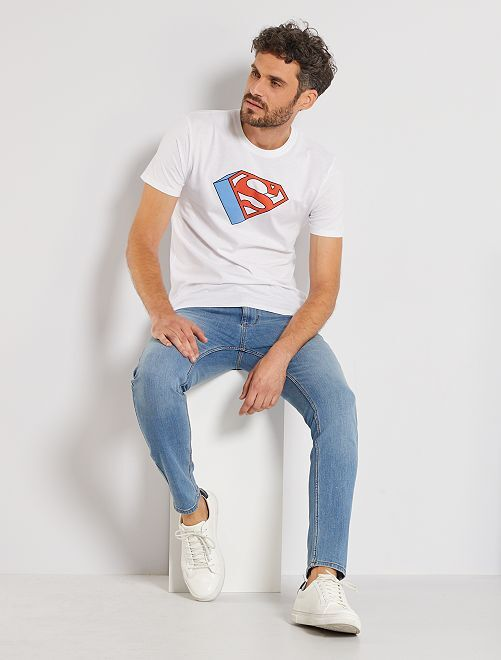 T-shirt con logo 'Superman'                             bianco