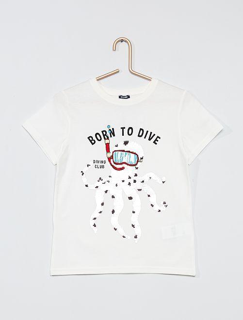 T-shirt con lustrini double face                                                                 BEIGE