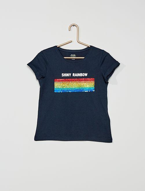 T-shirt con lustrini eco-sostenibile                                         BLU
