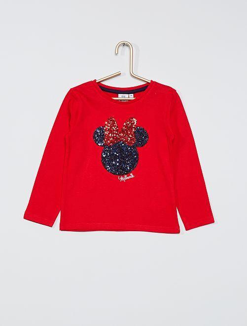 T-shirt con lustrini 'Minnie'                                         rosso