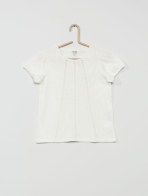 T-shirt con punto smock 'eco-sostenibile'                                                                                                                             bianco neve