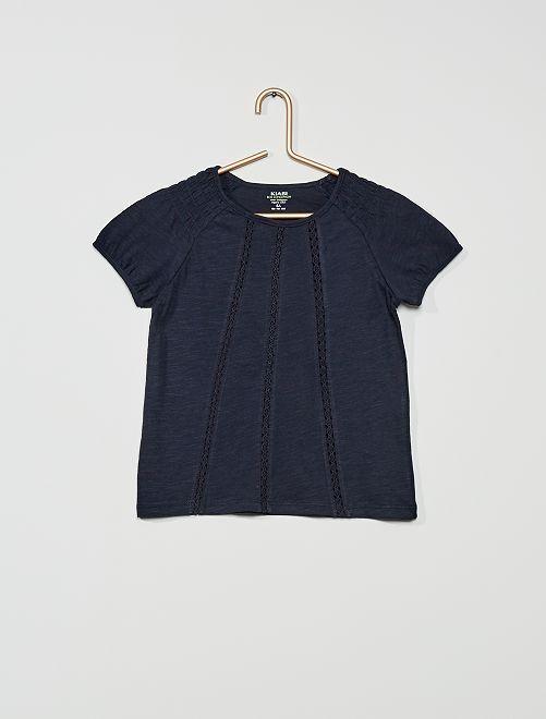 T-shirt con punto smock 'eco-sostenibile'                                                                                                                     blu