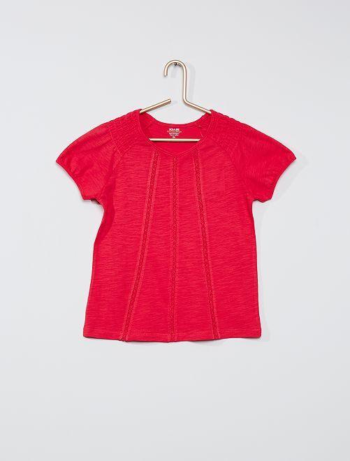 T-shirt con punto smock 'eco-sostenibile'                                                                                                                             fucsia