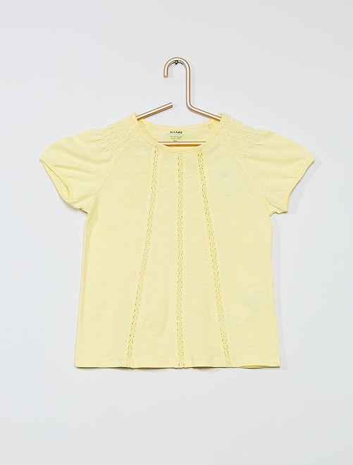 T-shirt con punto smock 'eco-sostenibile'                                                                             giallo limone