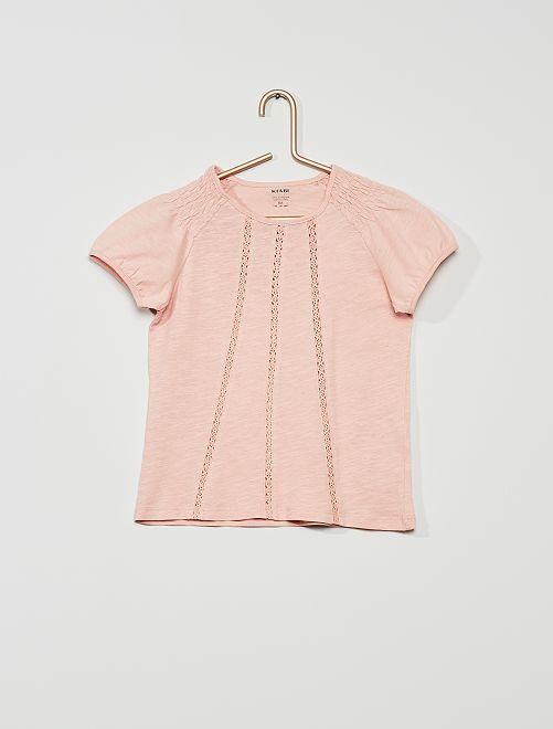 T-shirt con punto smock 'eco-sostenibile'                                                                                                                 rosa