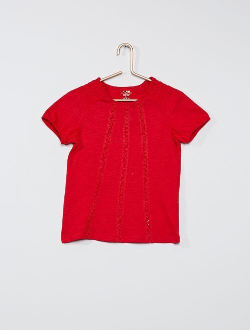 T-shirt con punto smock 'eco-sostenibile'                                                                                                                             ROSSO