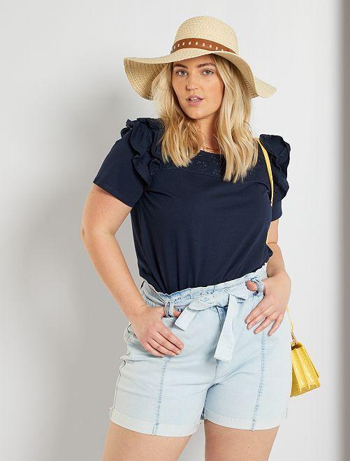 T-shirt con ricamo punto inglese                     blu