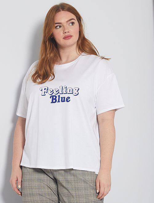 T-shirt con scritta                             bianco
