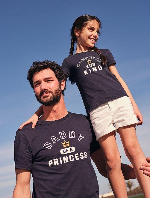 T-shirt con scritta eco-sostenibile                             BLU