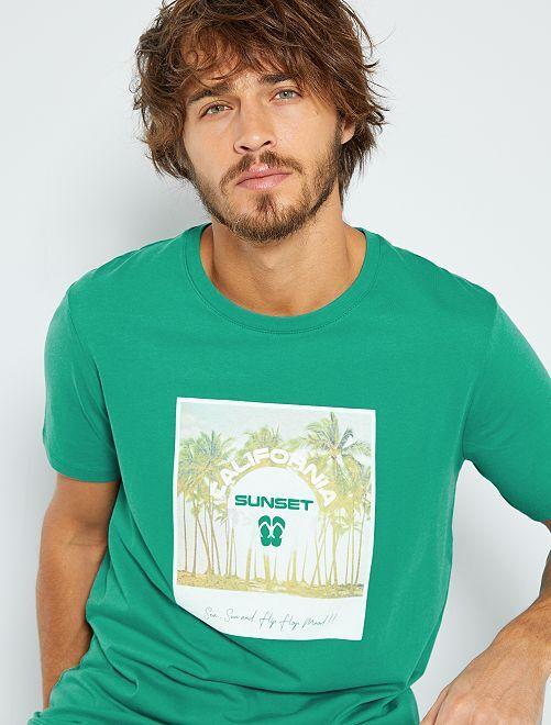 T-shirt con stampa 'eco-concept'                                                                                                                                             BLU