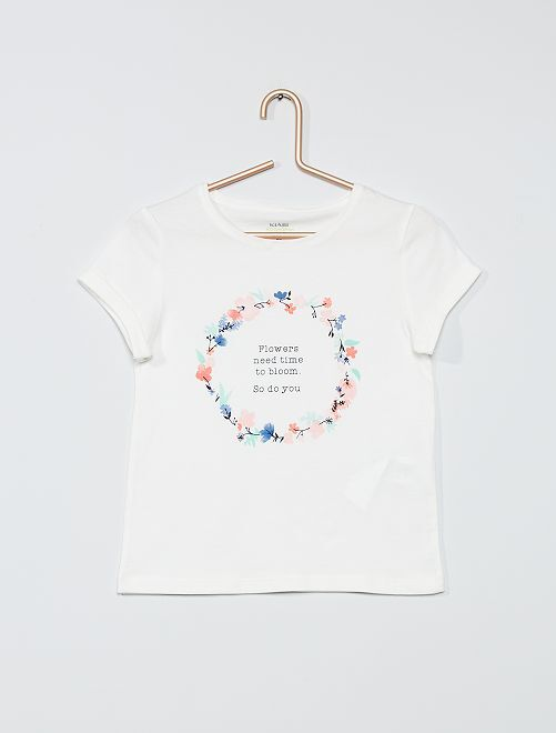 T-shirt con stampa 'eco-friendly'                                                                             BEIGE
