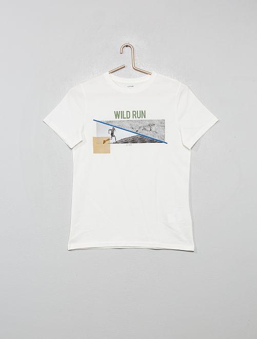 T-shirt con stampa foto                                         bianco neve