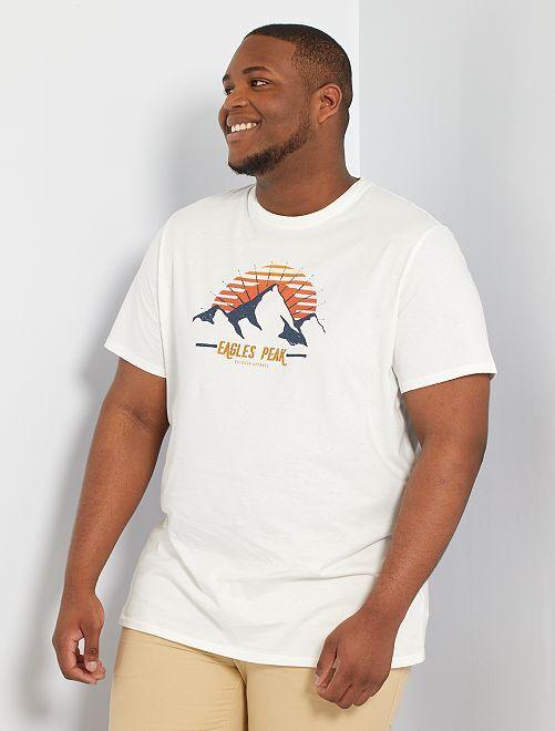 T-shirt con stampa fotografica eco-sostenibile                                 BIANCO