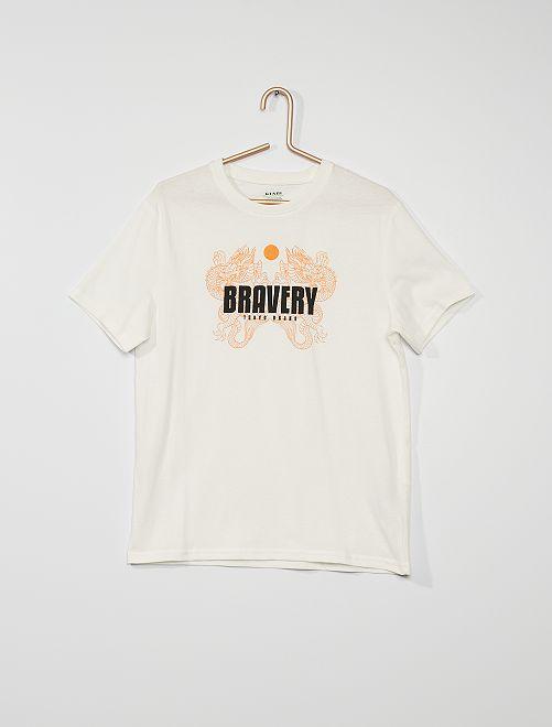 T-shirt con stampa in cotone                                                                                                                                                                                                                 BIANCO