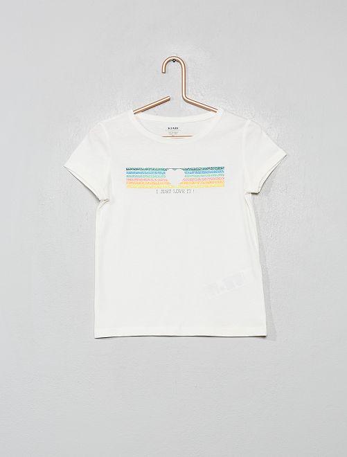 T-shirt con stampa in cotone bio                                                                 BEIGE