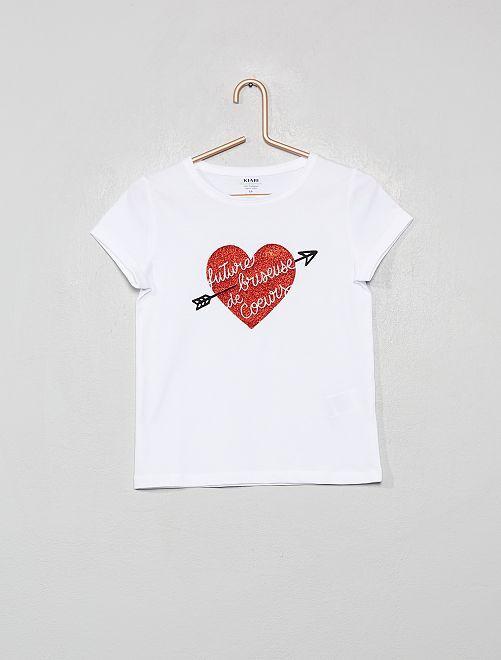 T-shirt con stampa in cotone bio                                                                 BIANCO