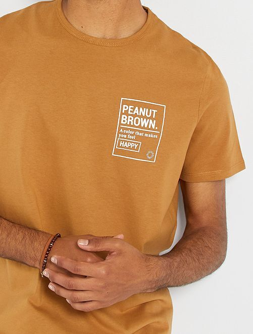 T-shirt con stampa in rilievo                                                                 BEIGE
