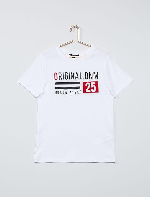 T-shirt con stampa in rilievo                                                                             BIANCO