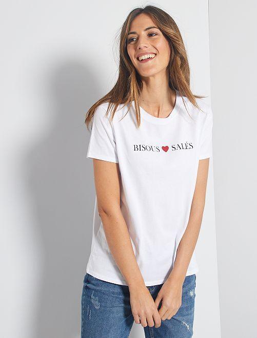 T-shirt con stampa 'messaggio' eco-sostenibile                                                                                                                                                                                                                 BIANCO