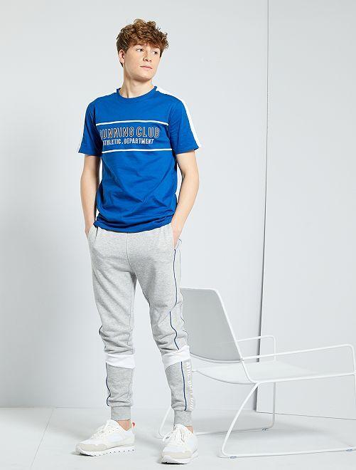 T-shirt con stampa 'running'                                         BLU