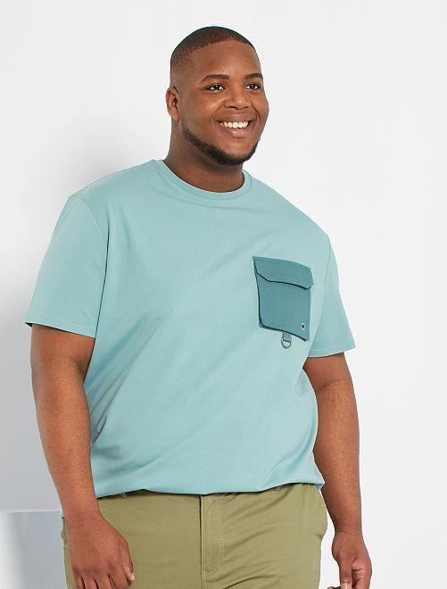 T-shirt con tasca sul petto                                         blu