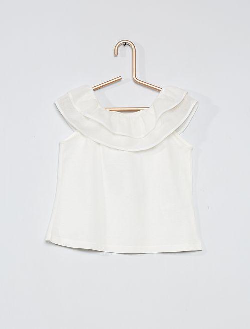 T-shirt con volant                                         bianco neve