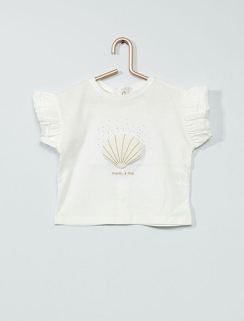 T-shirt 'conchiglie' con volant                                         BIANCO