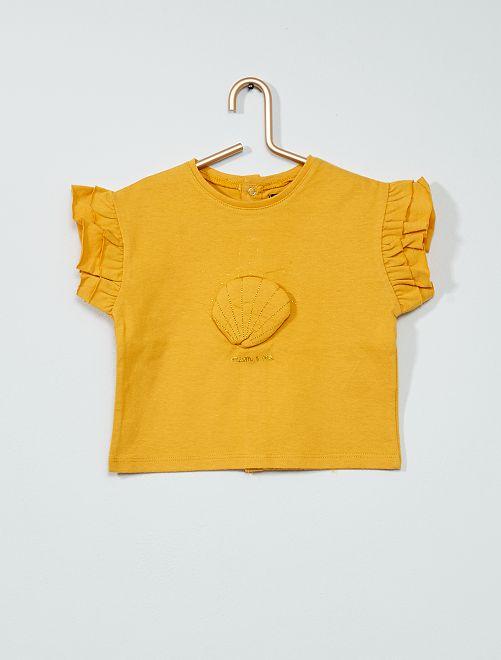 T-shirt 'conchiglie' con volant                                         GIALLO